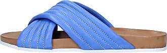 Inuovo Leather Sandal with Crossed Bands Royal Blue Heel 2 cm MOD. 6076 Royal Blue Blue Size: 4 UK