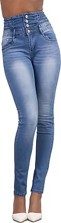 Yidarton Womens Retro Casual High Waist Slim Skinny Stretchy Butt Lifting Jeans with Buttons Denim Trousers Pants (Light Blue, XXL)