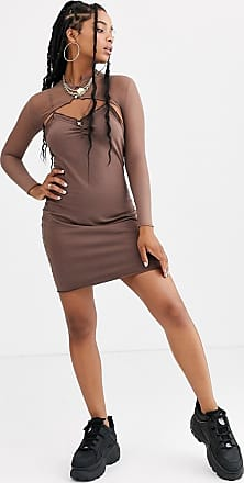 ZYA The Label mini dress with long sleeve mesh layer-Gold