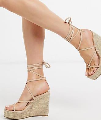 Glamorous Espadrilles con zeppa allacciate alla caviglia beige