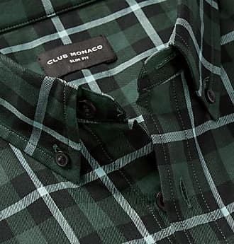 a3850c1ab70 Club Monaco Slim-fit Button-down Collar Checked Cotton Shirt - Green