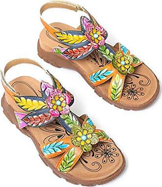 dd482a6c8b Gracosy Damen Sandalen Sommer Bunte Schuhe Handgefertigt Blumen Pantoletten  Leicht Hausschuhe Vintage Flache Sommerschuhe Komfortabel Strandschuhe