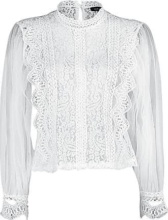 Qed London Net Sleeve Lace Crochet Top - Bluse - weiß
