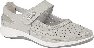 Boulevard DORRIT Ladies Action Leather Wide Fit Shoes Light Grey UK 8