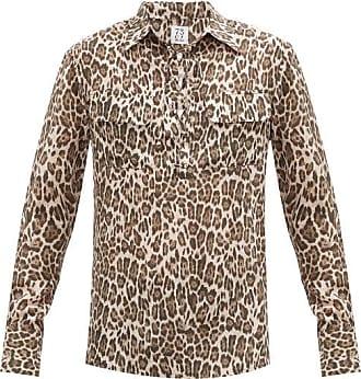 73 London Laced-placket Leopard-print Silk-georgette Shirt - Mens - Brown Multi