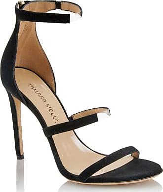 Tamara Mellon Reverse Frontline Black Suede Sandals, Size - 35.5