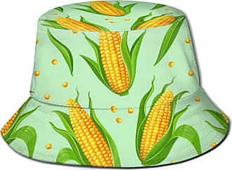 Not Applicable Clothing Bucket Hats for Women Yellow Corncobs and Green Leaves Unisex Bucket Hat Reversible Fisherman Hat Plant Printed Solid Color Outdoor Sun Hat Packable