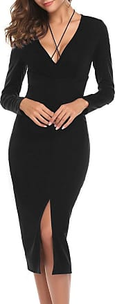 Zeagoo Womens Bodycon V Neck Long Sleeve Front Slits Satin Slim Sexy Party Bandage Midi Dress Black