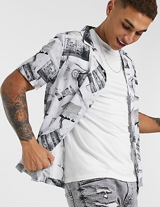 Topman short sleeve shirt with photographic print in black & white-Multi