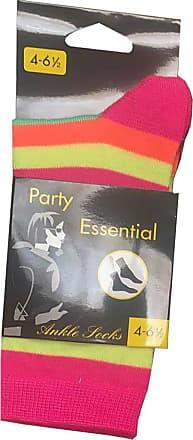 21Fashion Womens Neon Stripe Ankle Socks Ladies Sports Travel Use Rainbow Ankle Socks Pink Rainbow 4-6.5 (Pack Of 12)
