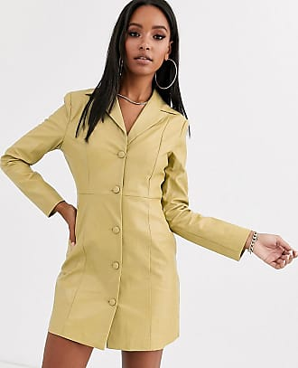 Unique21 70s structured blazer dress in faux leather-Green