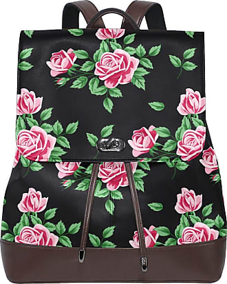 Ahomy Women Leather Backpack Vintage Floral Roses Leaf Waterproof Anti-theft Fashion School Backpack Casual Daypacks