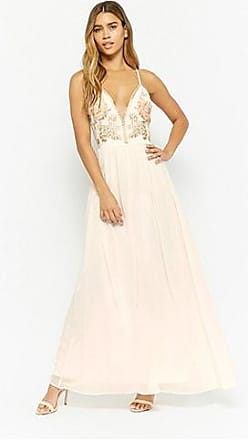 Forever 21 Forever 21 Metallic Embroidered Maxi Dress Ivory