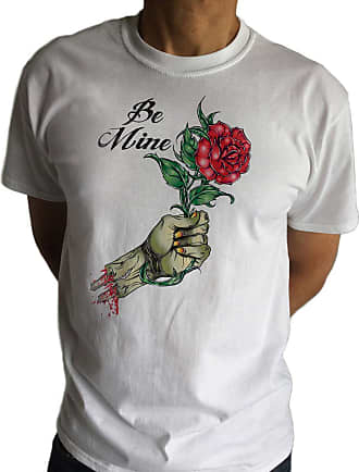 Irony Mens White T-Shirt BE Mine Zombie Roses- Romantic Zombie Funny Love Print TS518 (XXLarge)