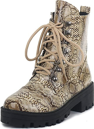 Vimisaoi Ankle Boots for Women, Lace-up Platform Chunky Mid Heel Snake Combat Martin Boots