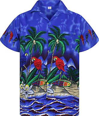 V.H.O. Funky Hawaiian Shirt, Shortsleeve, Parrot, Darkblue, 3XL