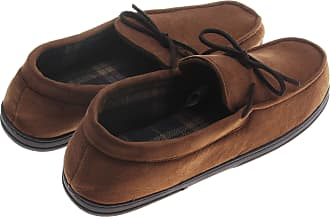 Dearfoams Mens Microsuede Plaid-Lined Moccasin; Chestnut (XLarge)