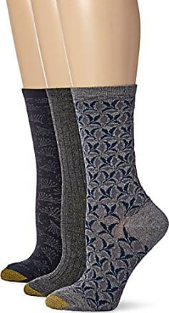 Gold Toe Womens Soft Floral Leaves Crew 3 Pack, Grey Heather/Charcoal/Midnight, 6-9