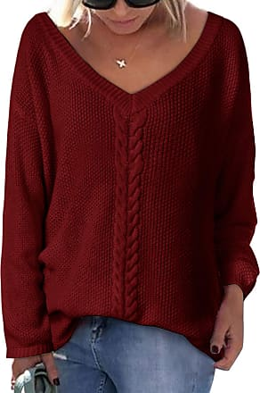 YOINS Jumpers for Women Loose Long Sleeve V Neck Knitwear Top Casual Blouse Sweater Ladies