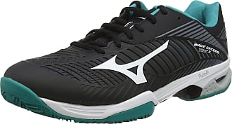 Mizuno Unisex Adults Wave Exceed Tour 3 CC Tennis Shoes, Black (Black/White/Bluegrass 36), 10.5 (45 EU)