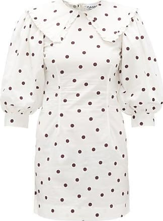 Ganni Sailor-collar Polka-dot Cotton Dress - Womens - White Multi