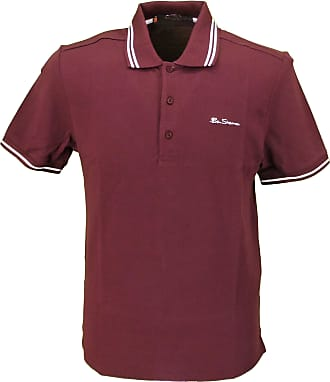 Ben Sherman Script Burgundy White Polo Shirt (Medium)