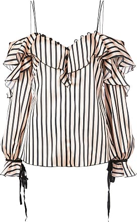 556588b7e8da7 Self Portrait ruffle striped cold shoulder blouse - Neutrals