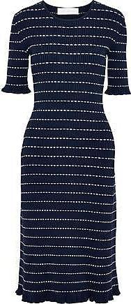 Victoria Beckham Victoria, Victoria Beckham Woman Striped Ribbed-knit Midi Dress Navy Size 10