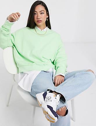 Weekday Kurz und weit geschnittenes Sweatshirt mit Rundhalsausschnitt in Minzgrün