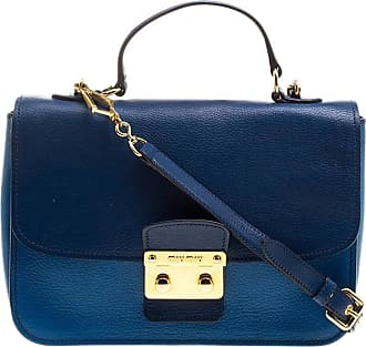 Miu Miu Miu Miu Blue Leather Madras Top Handle Crossbody Bag f7c62aff93144