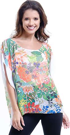101 Resort Wear Blusa 101 Resort Wear Poncho Decote Cavado Crepe Floral Estampado