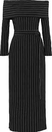 Norma Kamali Norma Kamali Woman Off-the-shoulder Belted Pinstriped Stretch-crepe Midi Dress Black Size XXS