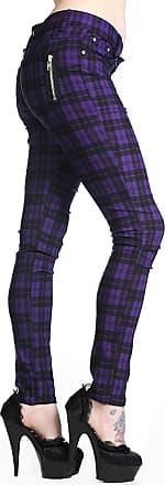 Banned Plaid Tartan Emo Punk Skinny Trousers Size 26-40 (30, Purple)