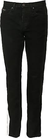 Calvin Klein Jeans Calça Sarja Calvin Klein Jeans Slim Faixas Laterais Preta