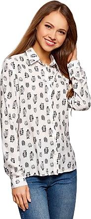 oodji Womens Straight-Fit Viscose Blouse, White, UK 12 / EU 42 / L