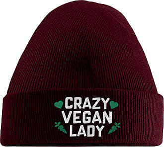 HippoWarehouse Crazy Vegan Lady Embroidered Beanie Hat Maroon