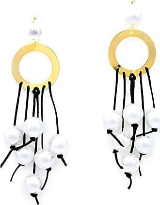 Tinna Jewelry Brinco Roda Vazada Com Bolas De Resina E Cadarço (Branco)