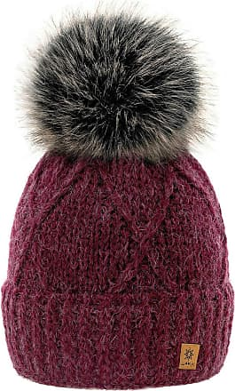 4sold Womens Ladies Beanie Hat Pom Pom Warm Winter Natural Wool Mohair Lining Full Cosy Fleece Liner (Birma Burgundy)
