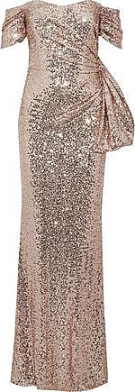 Badgley Mischka Badgley Mischka Woman Off-the-shoulder Ruched Sequined Tulle Gown Rose Gold Size 10