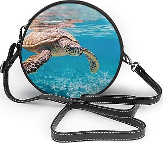 Turfed Sea Cute Turtle Print Fashion Round PU Crossbody Handbag Round Shoulder Bag For Women Girls
