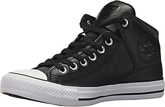 Converse Mens Street Leather High Top Sneaker, Black/White, 5.5 M US