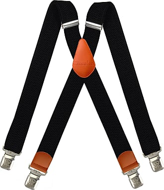 Decalen Mens braces wide adjustable and elastic suspenders X shape with a very strong clips Heavy duty (Black 2)