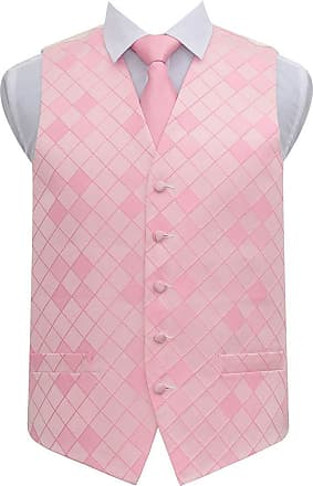 DQT Premium Woven Microfibre Diamond Patterned Light Pink Mens Wedding Waistcoat with Matching 9cm Tie Necktie and Pocket Square Set - 40