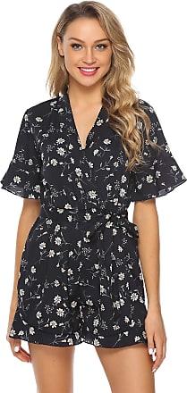 Abollria Playsuits for Women Elegant Floral Print V-Neck Tie Waist Boho Casual Short Romper Jumpsuit