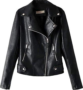 VITryst Womens Regular-Fit Oblique Zipper Patent Leather PU Moto Jacket Coat Outerwear,Black,X-Small