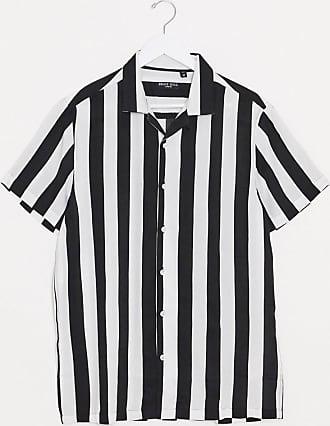 Brave Soul Schwarzweiß gestreiftes, kurzärmliges Hemd mit Reverskragen-Mehrfarbig
