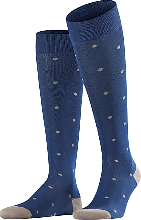 Falke Men Dot Knee-Highs - 88% Cotton, Blue (Royal Blue 6000), UK 5.5-8 (Manufacturer size: 39-42), 1 Pair