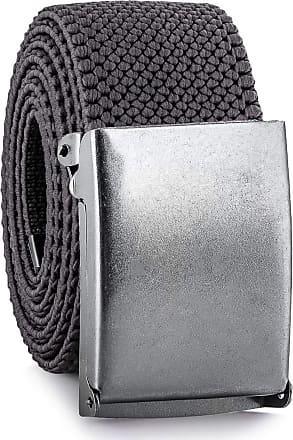 Decalen Mens Nylon Belt with Metal Automatic Buckle Canvas Breathable Men Waist Belt (Grey)