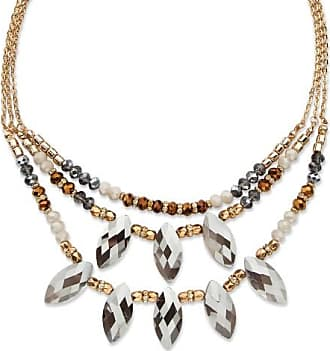 PalmBeach Jewelry Marquise-Cut Grey Crystal Multi-Strand Gold Tone Statement Necklace Adjustable 18