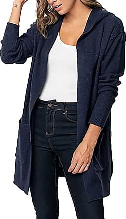 QUINTRA HOOUDO Womens Cardigan Fashion Casual Long Sleeve Solid Pocket Tops Sweater Overcoat Jacket Outwear Hooded Coat (XL,Navy)